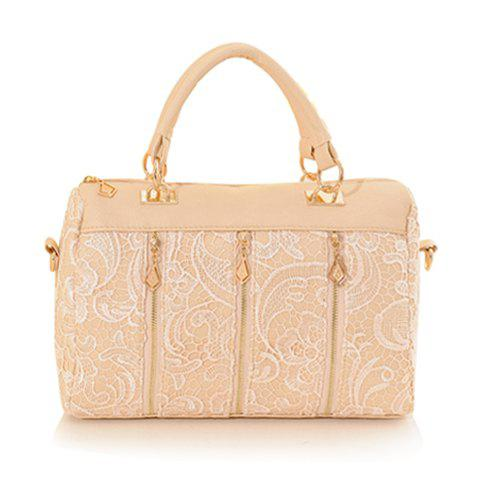 Elegant Lace and Zipper Design Tote Bag For Women - BEIGE