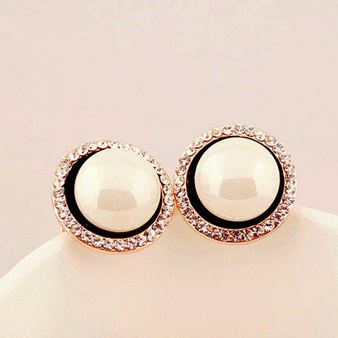 Pair of Chic Diamante Big Faux Pearl Earrings For Women - BLACK
