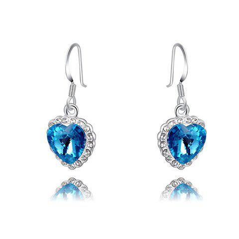 Pair of Chic Rhinestone Heart Pendant Earrings For Women - AS THE PICTURE