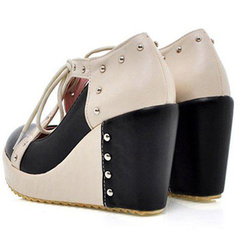 Casual and Fashion Stud and Color Matching Design Women's Lacing Wedge Shoes - BLACK 39