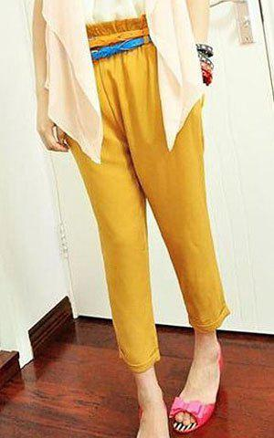 Fashionable and Restore Style Blend Yarn Short Harem Pants - YELLOW