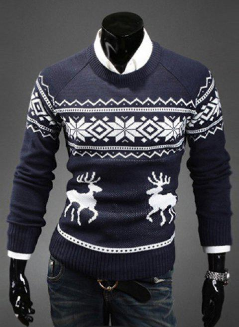 Fashion Scoop Neck Pullover Christmas Deer Printed Men's Long Sleeve Cotton Blend Sweater - NAVY M