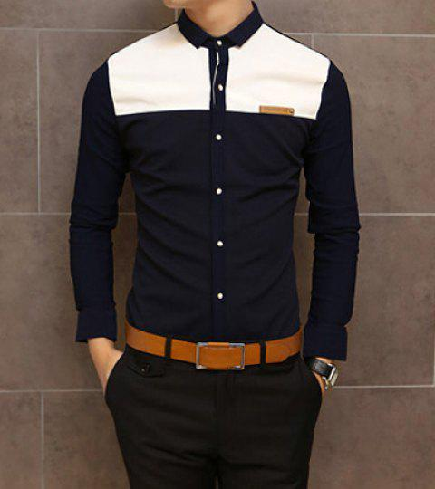 Slimming Shirt Collar Trendy Color Block Splicing Labeling Long Sleeve Men's Cotton Shirt - NAVY M
