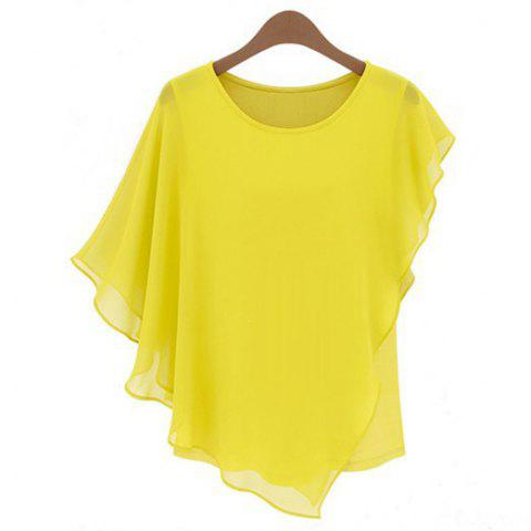 Solid Color Round Collar Butterfly Sleeve Chiffon Ladylike Style Women's Blouse - YELLOW S