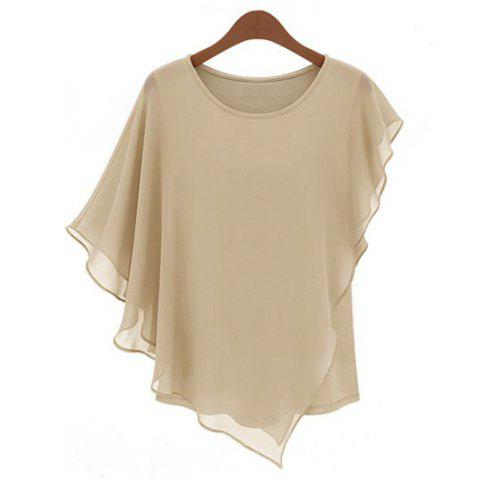 Solid Color Round Collar Butterfly Sleeve Chiffon Ladylike Style Women's Blouse - APRICOT L