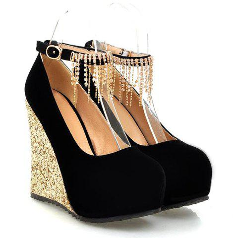 Fashion Sequins and Fringe Design Wedge Shoes For Women - BLACK 39