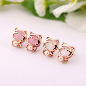 Pair of Faux Opal Bead Cat Stud Earrings - COLOR ASSORTED COLOR ASSORTED