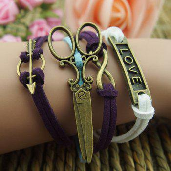 Scissors Infinity Love Multilayered Charm Bracelet
