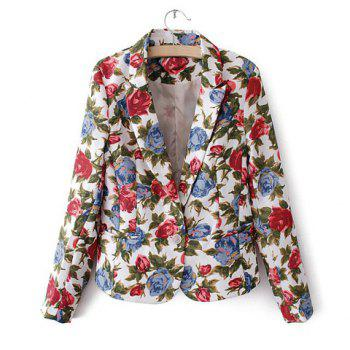 Casual Lapel Collar Floral Print One-Button Long Sleeves Women's Blazer