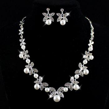 Suit Faux Pearl Rhinestone Leaf Necklace Earrings AS THE PICTURE