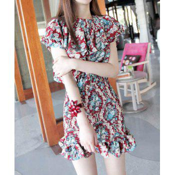 Slash Neck Flouncing Floral Print Packet Buttock Women's Dress