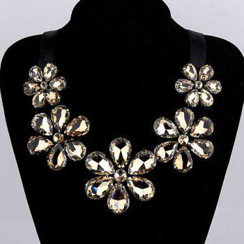 Fake Crystal Floral Statement Necklace