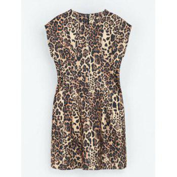 Fashionable Round Collar Leopard Print Sleeveless Women's Dress