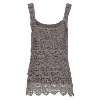 Crochet Scoop Neck Solid Color Sleeveless Slimming Women's Tank Top