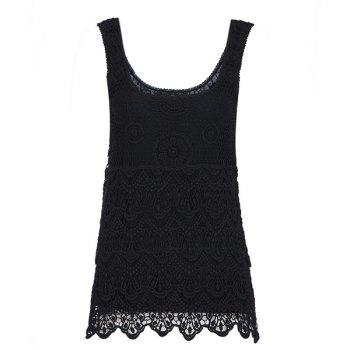 Crochet Scoop Neck Solid Color Sleeveless Slimming Women's Tank Top - BLACK M