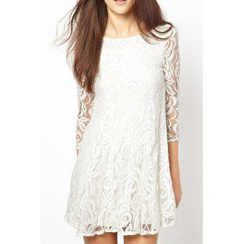 Scoop Collar White Bilayer Lace 3/4 Sleeves Slimming Women's Dress
