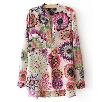 Women's Fashional Irregular Colorful Floral Print One Pocket Long Sleeves Blouse - AS THE PICTURE AS THE PICTURE