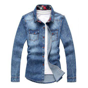 Fashion Slimming Shirt Collar Vertical Stripe Design Long Sleeve Men's Denim Shirt - BLUE BLUE