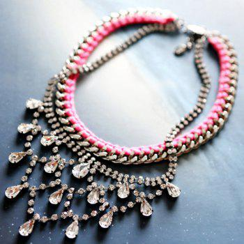 Faux Gemstone Embellished Double Layered Necklace