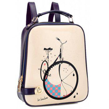 Trendy Bike Print and Color Block Design Satchel For Women - BLUE BLUE