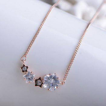 Cute Faux Gemstone Embellished Pendant Alloy Necklace For Women - AS THE PICTURE