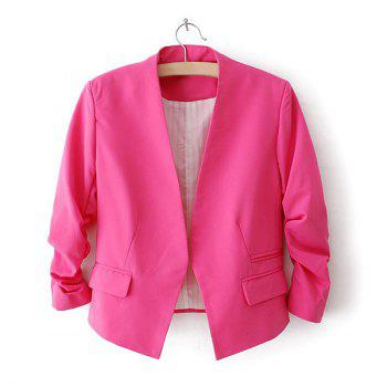 Collarless Three Quarter Sleeves Solid Color Blended Modern OL Style Women's Blazer
