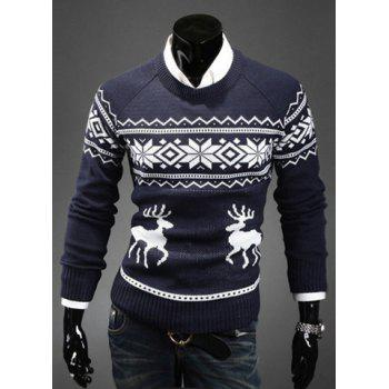 Fashion Scoop Neck Pullover Christmas Deer Printed Men's Long Sleeve Cotton Blend Sweater