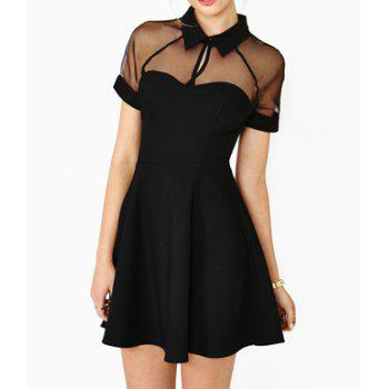 Women's Voile Splicing Hollow Out Solid Color Short Sleeve Dress