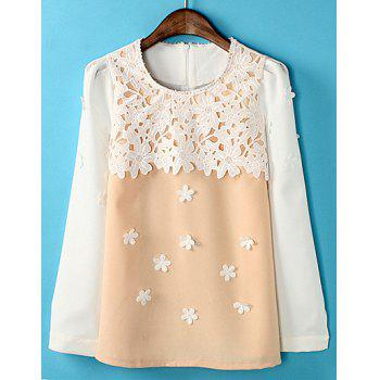 Sweet Style Long Sleeve Color Block Stereo Flower Lace Splicing Women's Blouse