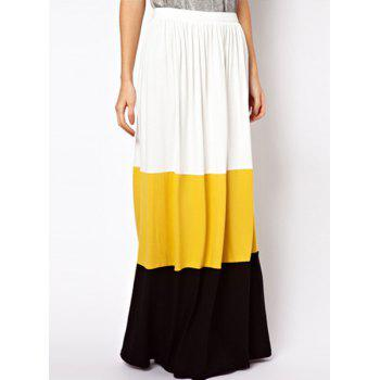 Bohemian Ruffled Color Block Floor-Length Women's Skirt