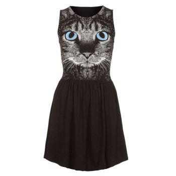 Round Collar Sleeveless Kitten Print Nipped Waist Color Blcok Casual Dress - BLACK 2XL