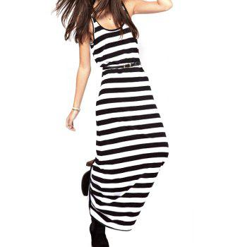 Stripe Slimming Scoop Neck Color Block Cotton Casual Style Women's Maxi-Dress
