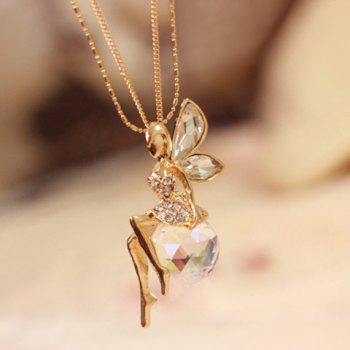 Trendy Glass Ball and Angel Pendant Sweater Chain Necklace For Women