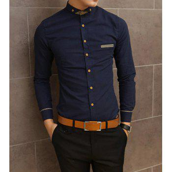 Slimming Shirt Collar Trendy Pocket Design Checked Stitching Long Sleeve Men's Cotton Shirt - NAVY NAVY