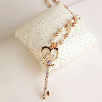 Exquisite Diamante Crown Embellished Key Pendant Sweater Chain Necklace For Women