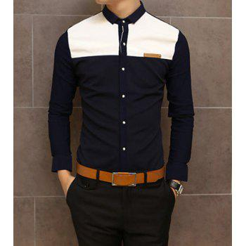 Slimming Shirt Collar Trendy Color Block Splicing Labeling Long Sleeve Men's Cotton Shirt - NAVY NAVY