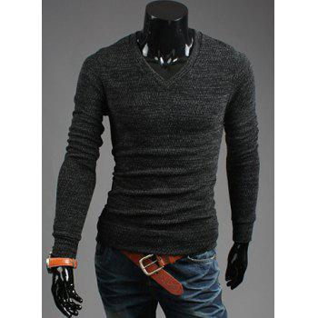 Casual Style V-Neck Solid Color Long Sleeves Cotton Blend Sweater For Men