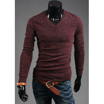 Casual Style V-Neck Solid Color Long Sleeves Cotton Blend Sweater For Men - WINE RED WINE RED
