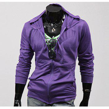 Casual Style Solid Color Zipper Embellished Stereo Pockets Long Sleeves Polyester Hoodies For Men