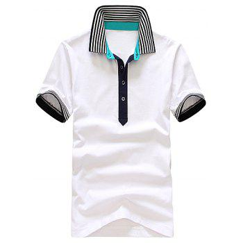 Stylish Turndown Collar Slimming Colorful Stripe Splicing Short Sleeve Men's Cotton Polo Shirt - WHITE WHITE