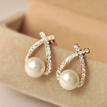 Pair of Faux Pearl Diamante Cross Design Earrings