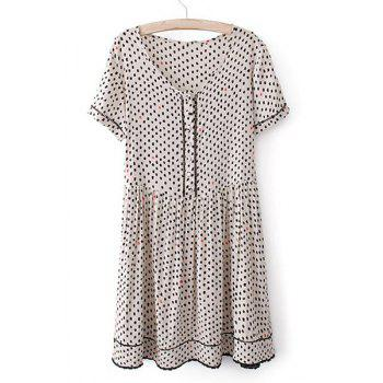 Polka Dot Round Collar Short Sleeve Pleated Sweet Style Women's Dress