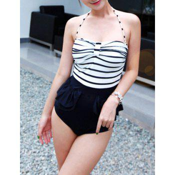 Women's Cute Color Matching Stripe Lace Up Pleated One Piece Swimsuit
