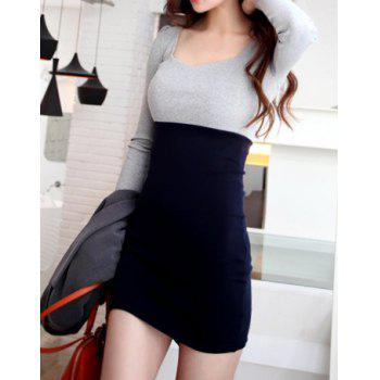 Cotton Long Sleeve Two Tone Sheath Dress