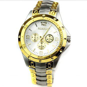 Quartz Men's Watch with 4 Arabic Numbers 8 Rectangle Indicate Steel Watchband and Luminous Pointer - GOLDEN GOLDEN