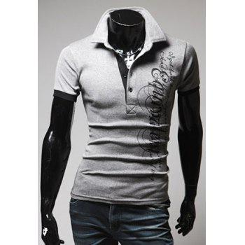 Turndown Collar Slimming Stylish Letter Print Short Sleeve Men's Polyester Polo Shirt - LIGHT GRAY XL
