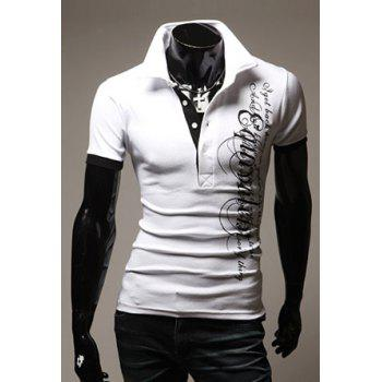 Turndown Collar Slimming Stylish Letter Print Short Sleeve Men's Polyester Polo Shirt - WHITE WHITE