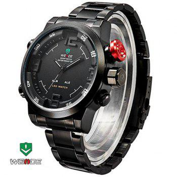 WEIDE WH2309B Military Sports Quartz Watch Double Movts Analog Digital LED Dual Time Display Alarm Wristwatch for Men