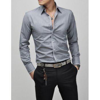 Slimming Lapel Striped Hem Men's Long Sleeve Cotton Blend Casual Shirt - GRAY L