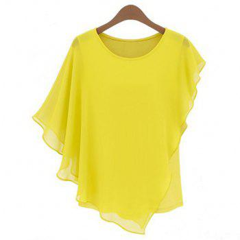 Solid Color Round Collar Butterfly Sleeve Chiffon Ladylike Style Women's Blouse - YELLOW YELLOW